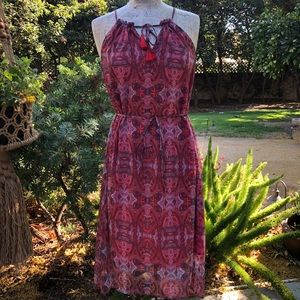 Lucky Brand sundress, vibrant red and periwinkle